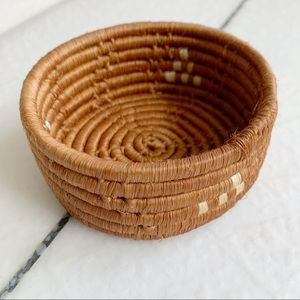 Tiny Vintage hand Woven Basket Catch all Natural